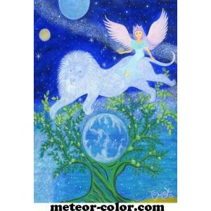 オーラヴィジョンアート 174 「海のように 宇宙のように 王座のように強く輝く星」 ポストカードサイズ|meteor-color2