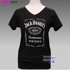 Jack Daniels ジャックダニエルズ公式レディースTシャツ(Vネック) metrofashion