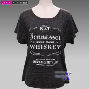 Jack Daniels ジャックダニエルズ公式レディースTシャツ(セクシーワイドネック) metrofashion