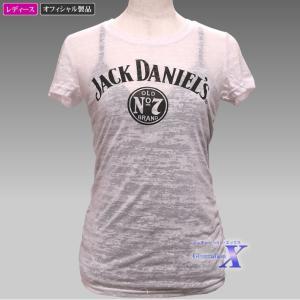 【Jack Daniels ジャックダニエルズ・オフィシャル(米国公式)Tシャツ】レディース(バーンアウト・ホワイト) metrofashion