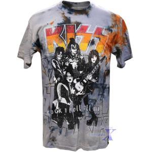 KISS公式メンズTシャツ(タイダイ) リキッドブルー製