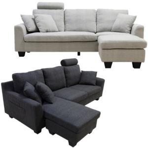 ソファ カウチソファ ファブリック クッション付き ヘッドレスト付き|meuble