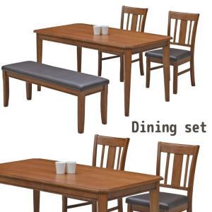 ダイニングセット ダイニングテーブル 4点セット 4人掛け ハイバックチェア ベンチ テーブル幅140cm 送料無料|meuble