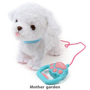 電池で動くおもちゃ 一緒にお散歩 プードル君 白色...