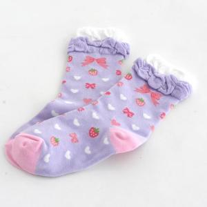 野苺 りぼん柄 紫 靴下|mg-sweet