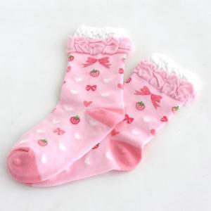 野苺 りぼん柄 桃 靴下|mg-sweet
