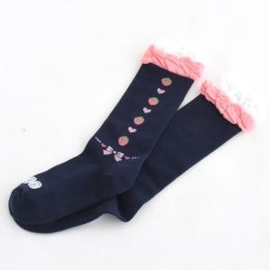 野苺 りぼん柄 紺 ハイソックス 靴下|mg-sweet