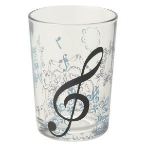 音符が重なってできた模様が美しいグラスタンブラーです。おしゃれ 食器 デザイン プレゼント 音楽