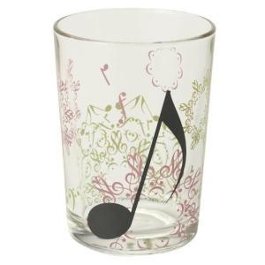 音符が重なってできた模様が美しいグラスタンブラーです。デザイン おしゃれ ギフト プレゼント コップ