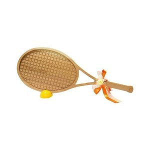 ビッグウエディングスプーン 趣味のシリーズ テニスラケット型スプーン 木目 飾り台付〔代引き不可〕〔同梱不可〕 トレード|mgbaby-shop