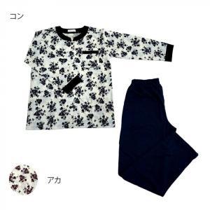 レディースパジャマ 天竺 花×無地 Lサイズ 6201722〔代引き不可〕 トレード|mgbaby-shop
