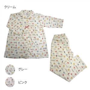 レディースパジャマ 天竺かさ 七分袖×長パンツ Lサイズ 6001884〔代引き不可〕 トレード|mgbaby-shop