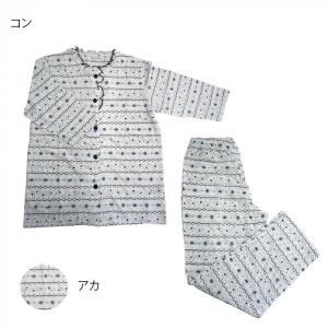 レディースパジャマ 針抜き天竺マリンボーダー 七分袖×長パンツ Lサイズ 6201726〔代引き不可〕 トレード|mgbaby-shop