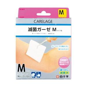 (まとめ)白十字 CARELAGE 滅菌ガーゼ M 1箱(10枚)〔×10セット〕