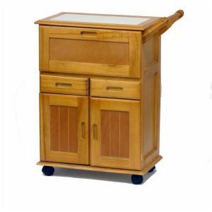 天然木 キッチンワゴン/キッチン収納 〔ライトブラウン〕 幅59cm 木製 タイル天板 キャスター付...