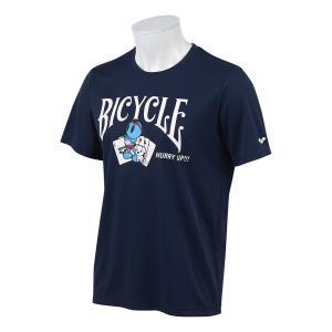 水着ブランド「アリーナ」×「BICYCLE」コラボレーションTシャツ ネイビー。  【機能】  吸水...