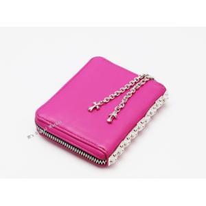 90bdc92916f7 クロムハーツ 財布 ウォレット スリーサイド ジップ ピンク ベビーファット チェーン