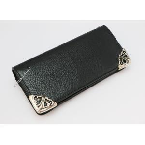 クロムハーツ 財布 黒 長財布 ロング シングルフォールド チップス ブラック レザー ウォレット