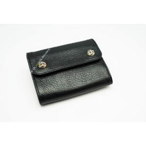 新品 クロムハーツ 財布 ウォレット WAVE MINI ブラック 折りたたみ財布 レザー