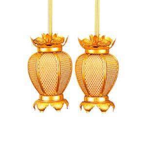 吊り灯籠 夏目院玄灯籠 金 中 LEDお仏壇用電装セット+取り付け金具付き (4000000019)