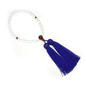 水晶・メノウ入り 頭付房(正絹房 色:紫紺) 念珠(女性用)  (2205000753)|mgohnoya
