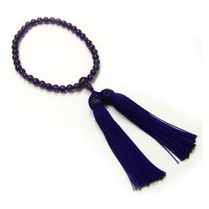 紫水晶 頭付房(正絹房 色:紫) 念珠(女性用)  (2205000503)|mgohnoya