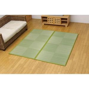 純国産 い草花ござ 『STノア』 グリーン 江戸間8畳(約348×352cm)(裏:ソフトテック15mm)