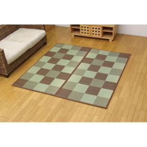 純国産 い草花ござ 『STブロック』 ブラウン 江戸間8畳(約348×352cm)(裏:ソフトテック15mm)