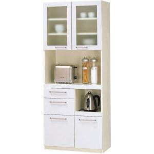 パモウナ 食器棚YC 〔幅75×高さ180cm〕 YC-S750R プレーンホワイト〔代引不可〕