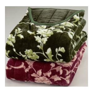 綿入りくりえり毛布 〔シングルサイズ〕 テイジンRウォーマルR使用マイヤー2枚合せ グリーン(緑)〔代引不可〕