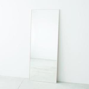 細枠ウォールミラー/姿見鏡 〔ワイド/ホワイト〕 幅60cm 天然木フレーム 飛散防止加工 日本製 〔完成品〕