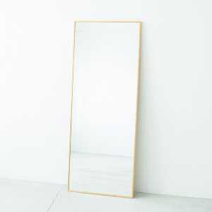 細枠ウォールミラー/姿見鏡 〔ワイド/ナチュラル〕 幅60cm 天然木フレーム 飛散防止加工 日本製 〔完成品〕