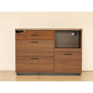 カウンター(キッチンボード) 木製 幅120cm スライド棚付き ブラウン 〔日本製〕 〔リビング/ダイニング収納〕〔代引不可〕