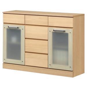 キャビネットB(サイドボード/キッチン収納) 〔幅111cm〕 木製 ガラス扉付き 日本製 ナチュラル 〔Angel〕エンジェル 〔完成品 開梱設置〕〔代引不可〕