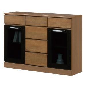 キャビネットB(サイドボード/キッチン収納) 〔幅111cm〕 木製 ガラス扉付き 日本製 ブラウン 〔Angel〕エンジェル 〔完成品 開梱設置〕〔代引不可〕