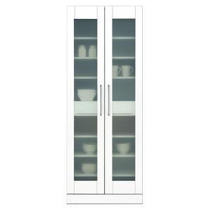食器棚(キッチン収納庫) 〔幅70cm〕 飛散防止加工ガラス扉/可動棚付き 日本製 ホワイト(白) 〔完成品〕〔代引不可〕