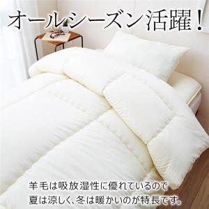 寝具セット 〔ダブルサイズ 4点セット〕 アイボリー 日本製 『羊毛入り 抗菌・防臭・防ダニ寝具シリーズ』