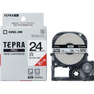 ラベル ライター テープ カートリッジ テプラ PRO テ−プ キングジム SS24KL-5P 白に...
