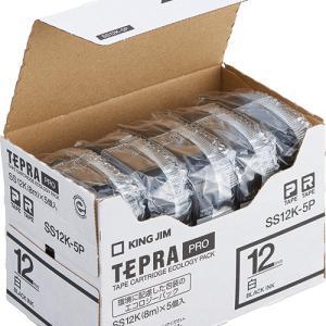テープ カートリッジ ラベル ライター テプラ PRO キングジム SS12K-20P 白に黒文字 ...