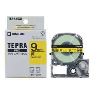 テープ カートリッジ ラベル ライター テプラ PRO キングジム SC9Y-20P 黄に黒字 9m...