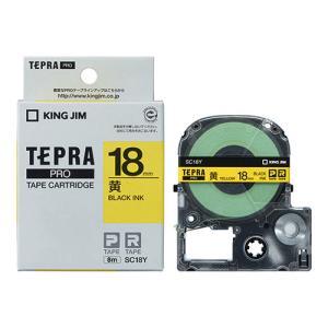 テープ カートリッジ ラベル ライター テプラ  PRO テ−プ キングジム SC18Y-20P 黄...