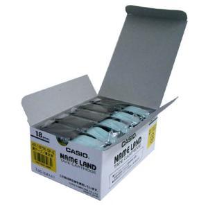 テープ カートリッジ ラベル ライター カシオ計算機 XR-18YW-5P-E ネームランド 黄に黒...