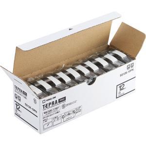 テープ カートリッジ ラベル ライター PRO テープ キングジム SS12K-10PN 白に黒文字...