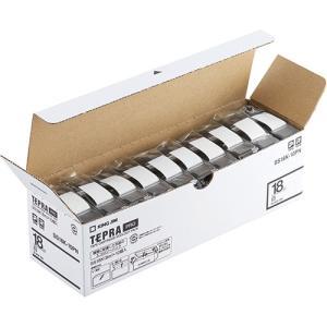 テープ カートリッジラベル ライター PRO テープ キングジム SS18K-10PN 白に黒文字 ...
