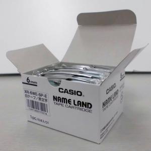 テープ XR-6WE-5P-E 白に黒文字 6mm 5個