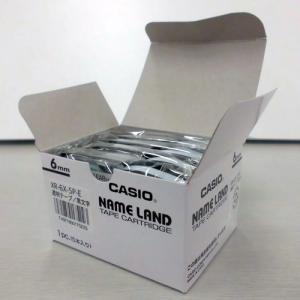 テープ XR-6X-5P-E 透明に黒文字 6mm 5個