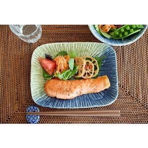 大皿 おしゃれ 和食器 角皿 焼き物皿 美濃焼 オードブル皿 二色流し彫十草焼き物皿