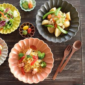 大皿 おしゃれ 和食器 美濃焼 プレート 変形皿 大鉢 盛り鉢 菊型 花形 花型 6色菊形高台大皿