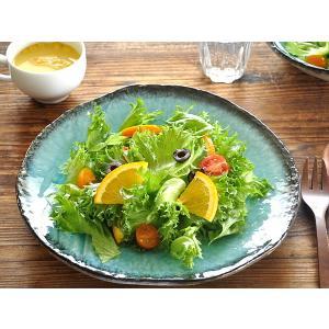 大皿 おしゃれ 和食器 美濃焼 プレート 丸皿 均窯トルコブルー変形大皿28.0cm