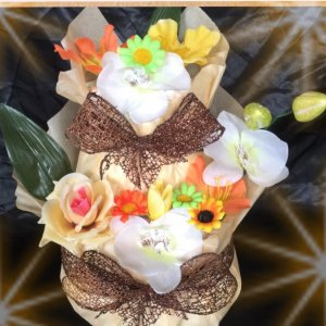 出産祝い♪イエロー♪2段お花のおむつケーキ(オムツケーキ)男...